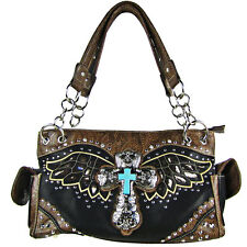 BLACK WESTERN CROSS WITH WINGS BROWN SEQUENCE SHOULDER HANDBAG CONCEALED CARRY
