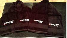 """2 Mercury Racing Towels 54"""" * 30"""" BLACK with EMBROIDERY W/2 Decals"""