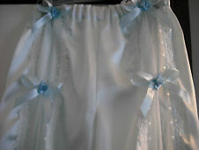 FRENCH VTG STYLE BLUE SATIN & IVORY NYLON LACE SISSY BLOOMERS /PANTIES SIZE S