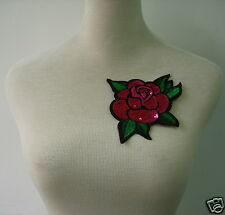 FW290 Colorful Rose Flower Embroidered Sequin Applique Motif Patch Iron On