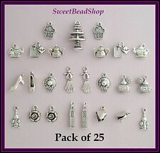 25 Antique Silver Colour Mixed Pack Afternoon Tea Charms London Teapot Teabag