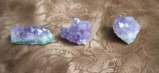 Amethyst. Cluster quartz. 3 pieces. Small Metaphysical. 1 to 2 in. Reiki Wicca