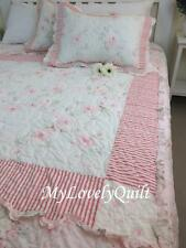 Shabby Chic Soft Pink Green Patchwork BEDSPREAD 3pc set Queen-Clearance-Flaw