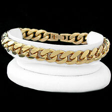 """New 8.5"""" 14k GOLD GL 11mm Thick ROUNDED CURB Link Bracelet + LIFETIME GUARANTEE"""