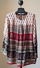 NWT Crinkled Rayon Ethenic Print  Wide Hips Boho Peasant Top BLOUSE 1 SIZE