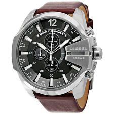 Diesel Mega Chief Chronograph Grey Dial Brown Leather Mens Watch DZ4290