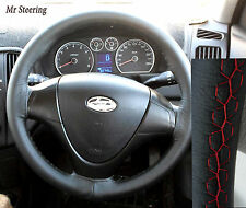 FOR HYUNDAI i30 MK1 REAL BLACK LEATHER STEERING WHEEL COVER 2007-2011 RED STITCH