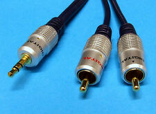 HQ 3.5 mm stereo jack to two phono RCA 0.5m / 50cm Lead