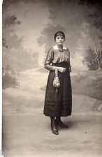 BL461 Carte Photo vintage card RPPC Femme mode fashion robe dress sac à main bag