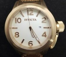 Invicta 1137 Mens Corduba White Dial Brown Leather Watch 48mm rose gold