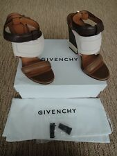 BNIB GIVENCHY LEATHER COLORBLOCK BROWN WHITE/BEIGE HIGH HEELS SHOES IT 40 9.5