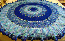 "~HAND MADE CROCHET AFGHAN MULTI COLOR ROUND AFGHAN THROW  BLANKET LARGE 68""X68"""