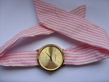 Lovely Summer Ladies Pink and White Patterned Scarf Gold Faced Watch