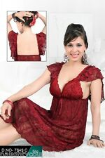Hot Night Wear 2pc Sheer Babydoll & Panty 7849C Maroon Women Bed Set Night Dress