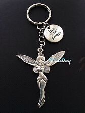 Angel Fairy Tinkerbell Keyring Wisdom Words LIVE YOUR DREAM Charm Christmas Gift