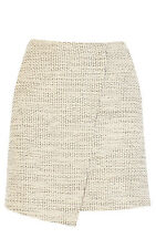 Karen Millen Neutral Tweed Wrap Mini Skirt. SS111. Size 16. RRP £115.