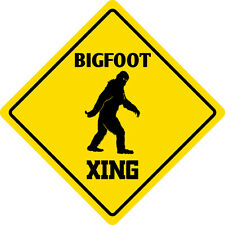 "*Aluminum* Bigfoot Crossing Funny Metal Novelty Sign 12""x12"""