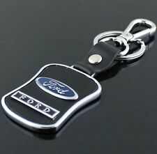 LG85 PU Leather Black Buckle Keyring For Ford Car Logo Key Ring Keychain Gift