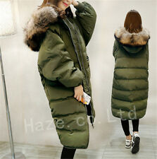 Winter Womens Duck Down Coat Long Fur Collar Hooded Outwears Jacket Parka