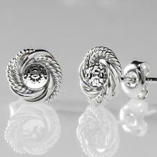 Sterling Silver Twisted Stud Earrings Disco Ball CAL Crystal Swarovski Elements