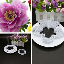 4pcs New Peony Flower Fondant Mold Sugarcraft Cake Cookies Embosser Cutter fed
