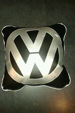 Vw v w faux leather  cushion  black with silver vw and piping retro cool