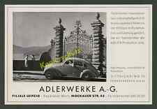 o. Reklame Auto ADLER 2,5 L Stromlinie Adlerwerke Frankfurt Filiale Leipzig 1939