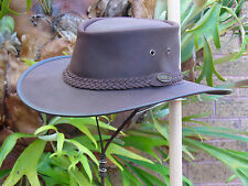 DARK BROWN LEATHER OUTDOOR AUSSIE BUSH HAT / AUSTRALIAN BUSHMEN HAT FOLDS UP!