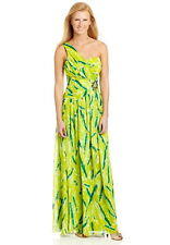 NWT $149 Rampage One-Shoulder Maxi Dress Prom Summer Party Sz 1 Lime Green Blue