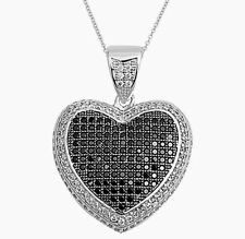 USA Seller Black Heart Pendant with Chain Set Sterling Silver 925 Best Jewelry