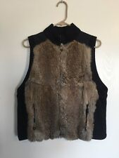 Jamie Sadock Black / Brown Genuine Rabbit Fur Vest Women's Large