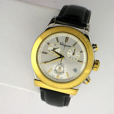 SALVATORE FERRAGAMO 1898 Mens DESIGNER Watch Swiss Leather FF3870015 Chronograph