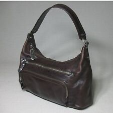 COLE HAAN BROWN TEXTURED LEATHER SATCHEL BAG PURSE