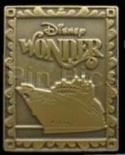Disney Pin: DCL Disney Cruise Line - Disney Wonder (Golden Stamp-Like)