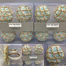 x8 KIM SEYBERT Beaded Napkin Ring Holder Easter Egg Blue Gold Oval Floral NEW