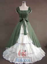 Women Medieval Renaissance Lolita Puff Sleeve Party Costume Gown Cosplay Dress