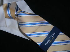 NEW NAUTICA TIE silk Collection SOFT YELLOW BLUE WHITE