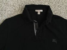 mens Burberry Brit black polo shirt nova plaid check XS extra small
