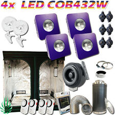 Hydroponics 4xLED COB Grow Light Combo 432W No Heat Full Stage Cover 2x2x2m Tent