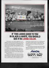 AIR CAL 1986 EXPO 86 VANCOUVER SEE IT IN LIVING COLOR HAPPY HOP AD