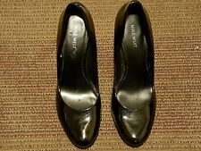 NINE WEST WOMEN PUMP CLASSICS US SIZE 10 M BLACK LEATHER MADE IN BRAZIL.