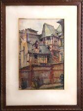 Pierre LE TRIVIDIC: aquarelle ROUEN, maisons a colombages (années 30 ?)
