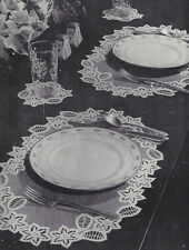 Vintage Crochet PATTERN to make Crochet Cutwork Doily Placemats Glass Coasters