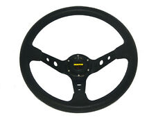Universal 350mm Corsica Style Race Car Deep Dish Steering Wheel PU Leather Black