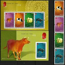 Hong Kong 2009 Year of the Ox set of 4 plus 2 M/S MNH