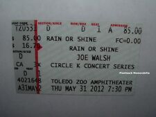 Joe Walsh Concert Ticket Stub Toledo Zoo Amphitheater 2012 Rare The Eagles