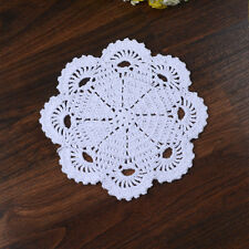 Fine Yarn Floral Pure Cotton Hand Crochet Lace Doily Plate Mat Round 19CM White