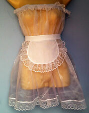 Blanco De Organza Vestido + Delantal Adulto Baby Fancy Dress Sissy Maid Cosplay 36-52