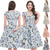GRACE KARIN DRESS 50'S FLORAL Swing 40s 50s Housewife pinup Vintage JIVE Dresses