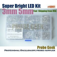 10values 500pcs 3mm 5mm Super Bright Water Clear LED Assortment Kit, #6001